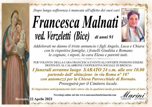 Francesca Malnati ved. Verzeletti